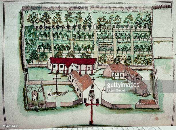 Drawing of a Jesuit mission and its orchard by Father Florian Paucke a Jesuit missionary from Switzerland who lived and worked with the Mocobi tribes...