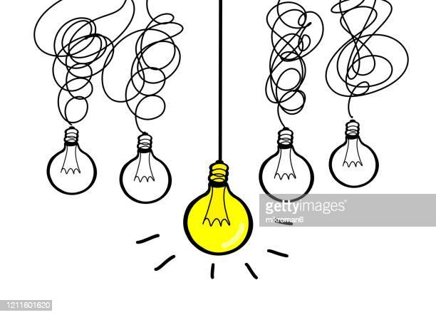 drawing of a light bulbs in a row - energy efficient lightbulb stock pictures, royalty-free photos & images
