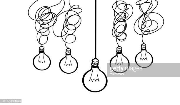drawing of a light bulbs in a row - creativity stock pictures, royalty-free photos & images
