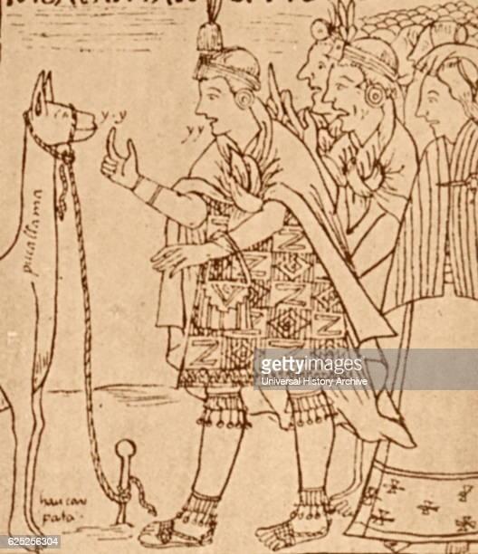 Drawing of a Llama sacrifice by Felipe Guaman Poma de Ayala a Quechua nobleman Dated 16th Century