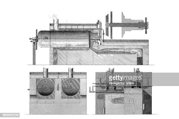 Drawing of a machine or apparatus for producing paper pulp from straw industrial product from the year 1880 digital improved reproduction of a...