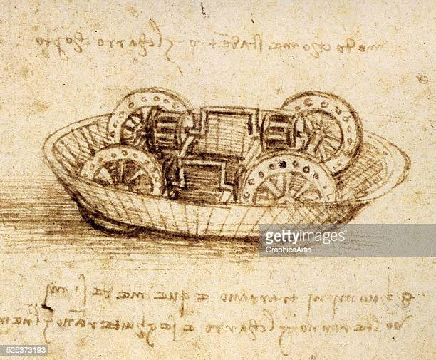 Drawing of a military machine possibly the inner workings of a tank from a Leonardo da Vinci notebook ink on paper circa 148590 Located in the...