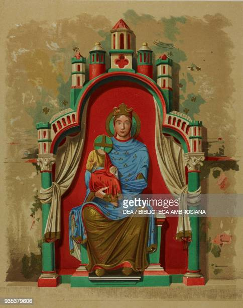 Drawing of a painted sculpture with Madonna and Child on the tympanum of a door in the north transept of Reims cathedral France engraving by Fred...