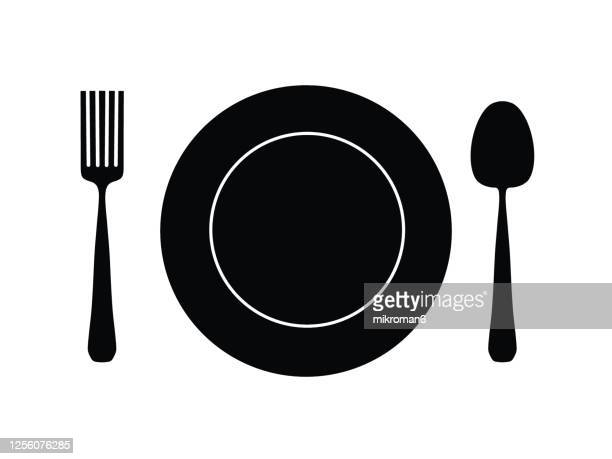 drawing of a plate with a spoon and a fork - food stock pictures, royalty-free photos & images