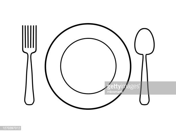 drawing of a plate with a spoon and a fork - symbol stock pictures, royalty-free photos & images