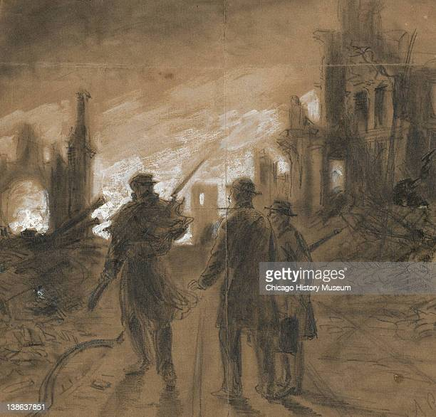 Drawing of a soldier on sentry duty confronting two people during the Great Chicago Fire, Chicago, Illinois, 1871.