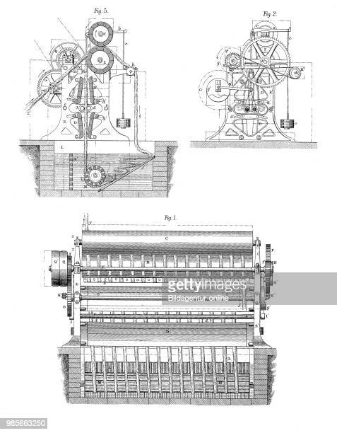Drawing of a washing machine for woven fabrics industrial product from the year 1880 digital improved reproduction of a woodcut from the year 1880