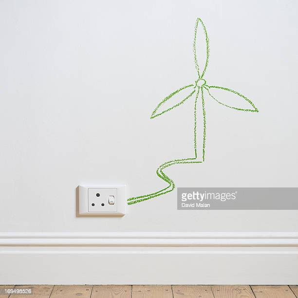 Drawing of a wind turbine above a wall socket