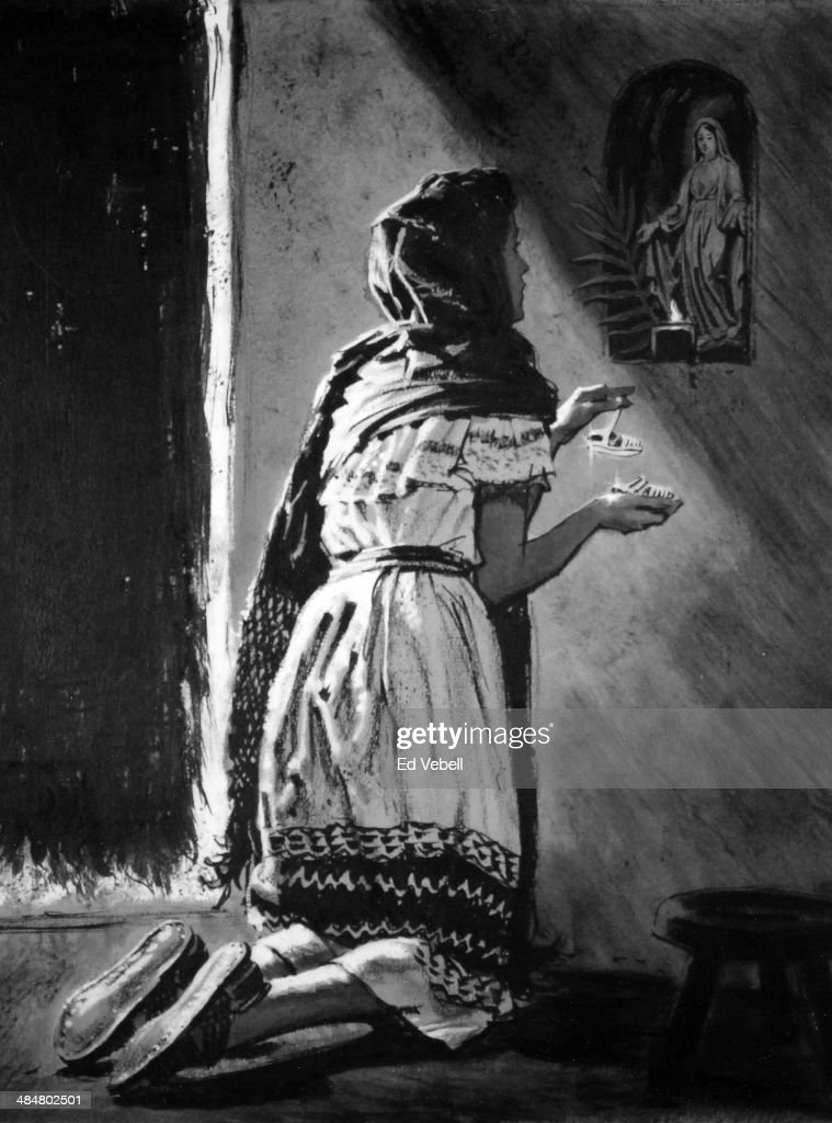 A drawing of a young Mexican woman making a votive offering to a statue of the Virgin Mary circa 1950 in Mexico.