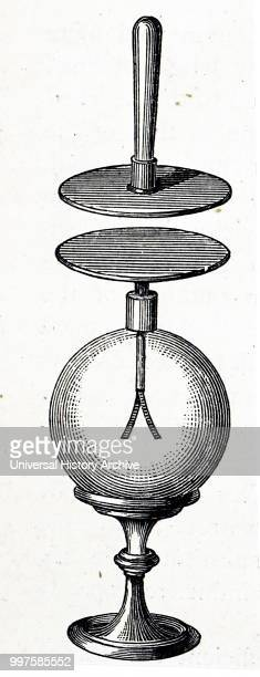Drawing of Alessandro Volta's condensing gold leaf electroscope An electroscope is an early scientific instrument that is used to detect the presence...