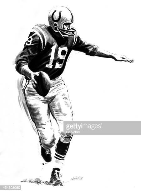 A drawing of Baltimore Colts quarter back Johnny Unitas circa 1964