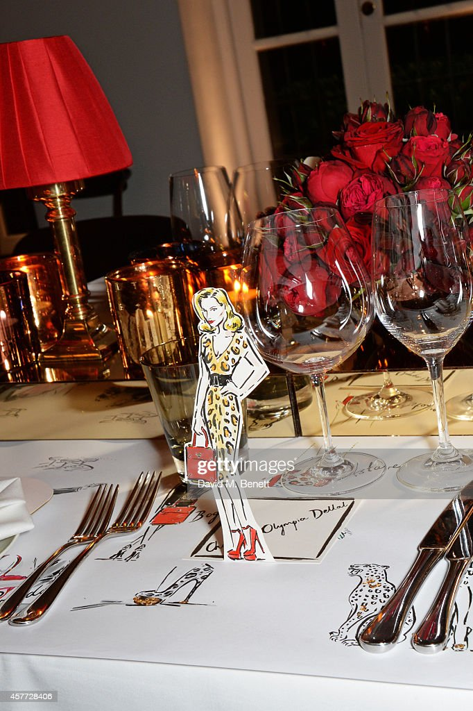 A drawing of Charlotte Olympia Dellal by Clym Evernden at the Charlotte Olympia 'Handbags for the Leading Lady' launch dinner at Toto's Restaurant on October 23, 2014 in London, England.