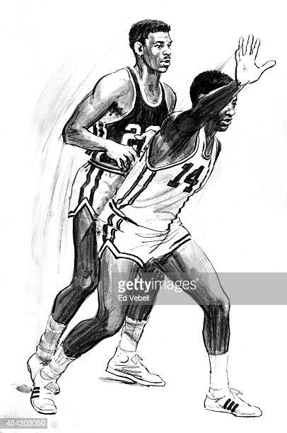 Drawing of Cincinnati Royals point guard Oscar Robertson circa 1964.