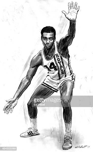 A drawing of Cincinnati Royals point guard Oscar Robertson circa 1964