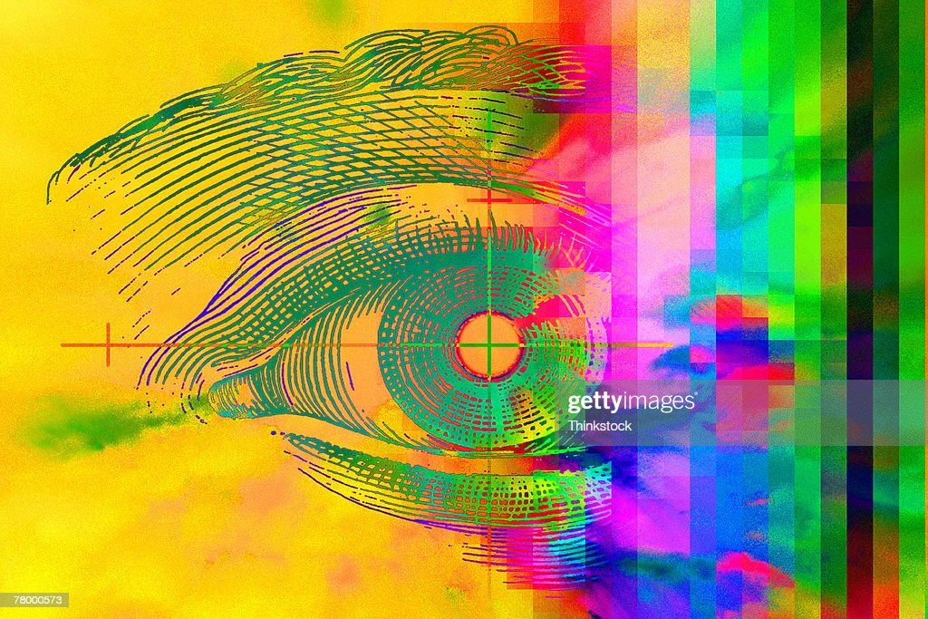 Drawing of eye with rainbow : Stock Photo