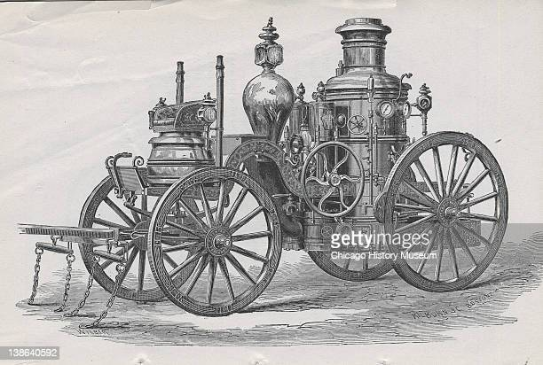 Drawing of fire engine 'Fred Gund' Chicago Illinois early 1870s From Report of the Board of Police in the Fire Department to the Common Council of...