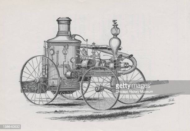 Drawing of fire engine 'Long John' Chicago Illinois early 1870s From Report of the Board of Police in the Fire Department to the Common Council of...