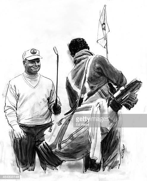 A drawing of golfer Jack Nicklaus and his caddy circa 1960