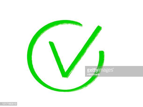 drawing of green tick check mark icon - checkbox stock pictures, royalty-free photos & images