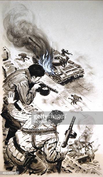 A drawing of Hungarian revolutionaries firing on a government tank during the uprising in October 1956 in Budapest Hungary