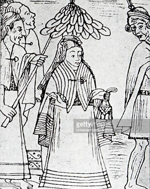 Drawing of Mama Ocllo a figure in Inca mythology by Felipe Guaman Poma de Ayala by Felipe Guaman Poma de Ayala a Quechua nobleman Dated 16th Century