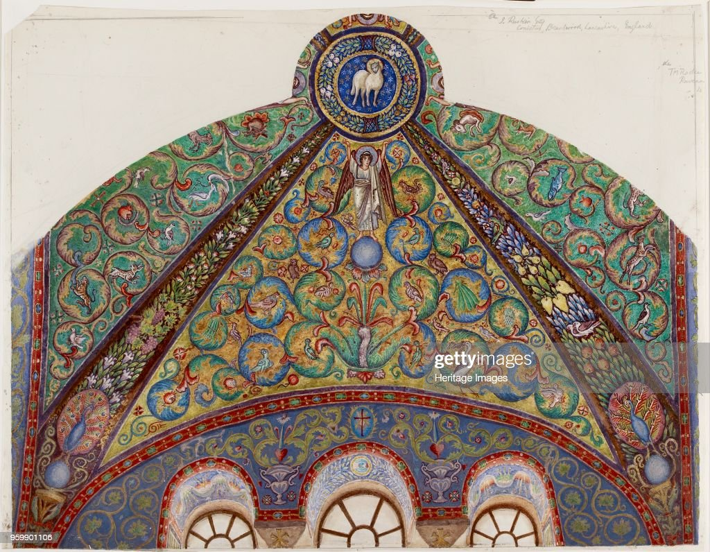 Drawing Of Mosaics In The Vault Of The Chancel Of San Vitale : News Photo