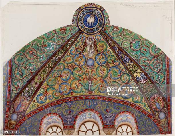 Drawing of Mosaics in the Vault of the Chancel of San Vitale Ravenna 1884 Artist Thomas Matthews Rooke