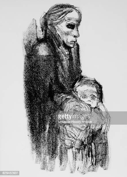 Drawing of Mother with Children by Kathe Kollwitz in German Weekly Magazine Simplicissimus 1924