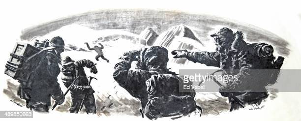A drawing of mountain climbers in the Himalayas spotting an Abominable Snowman or Yeti in the distance circa 1950 in Nepal