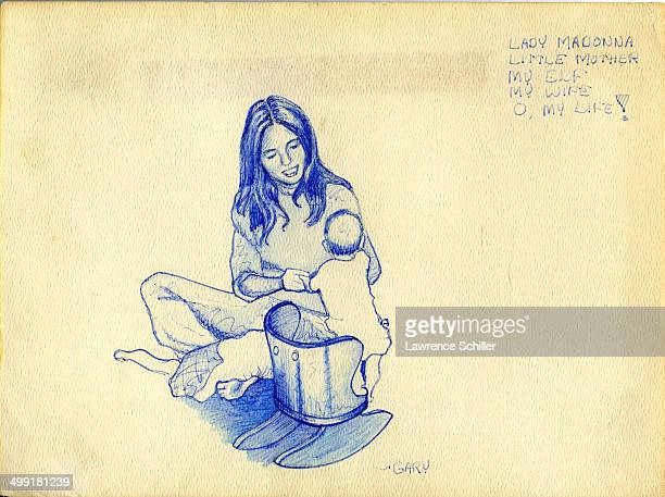 Drawing of Nicole Baker and one of her daughters 1976 The text at right reads 'Lady Madonna / Little mother / My elf / My wife / O my life' written...