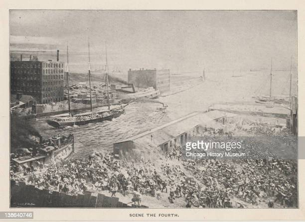 Drawing of people escaping Chicago during the Great Chicago Fire onto Lake Michigan via boats Chicago Illinois 1871
