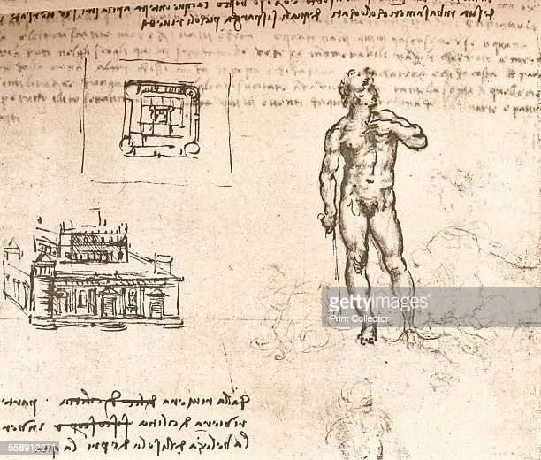 Drawing of plans for a castle and of a nude figure washed with Indian ink c1472c1519 From The Literary Works of Leonardo Da Vinci Vol II by Jean Paul...
