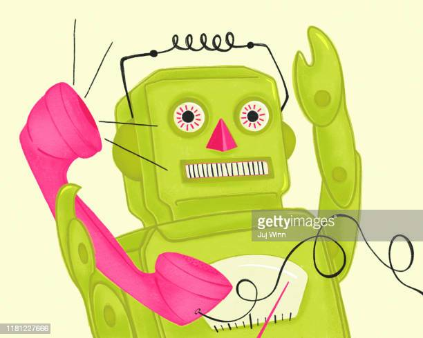 drawing of robot with phone - e mail spam stock pictures, royalty-free photos & images