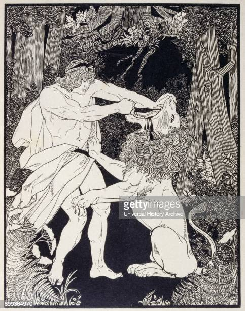 Drawing of Samson fighting a lion By Ephraim Moses Lilien an art nouveau illustrator and printmaker particularly noted for his art on Jewish themes...