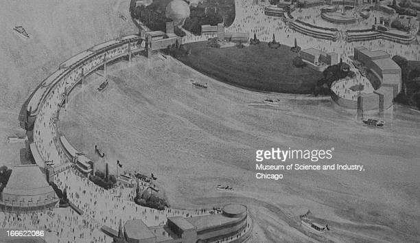 A drawing of the Chicago Worlds' Fair grounds from above shows the winding Souvenir Bridge at the Century of Progress International Exposition The...