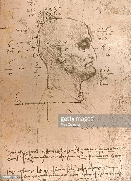 Drawing of the head of a criminal c1472c1519 From The Literary Works of Leonardo Da Vinci Vol 1 by Jean Paul Richter PH DR [Sampson Low Marston...