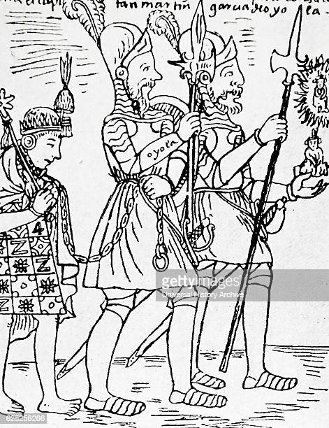 Drawing of the last Inca King Tupac Amaru as a captive of the Spanish by Felipe Guaman Poma de Ayala a Quechua nobleman Dated 16th Century