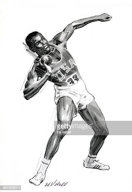 A drawing of US Olympic decathlete Rafer Johnson in 1960