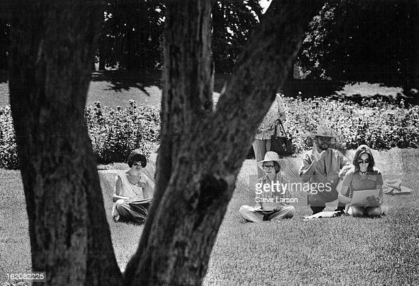JUL 1977 JUL 10 1977 Drawing On Good Advice Denver artist Bob Ragland offers instructions to three of his students on how to draw trees Ragland and...