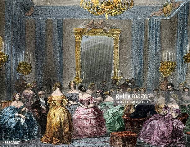 Drawing room of the upper class 18401850 engraving by Eugene Louis Lami