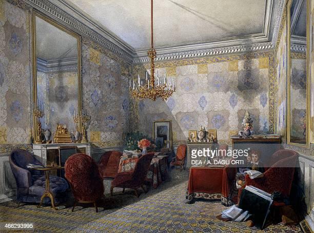 Drawing room watercolour by Fernand Pelez de Cordova