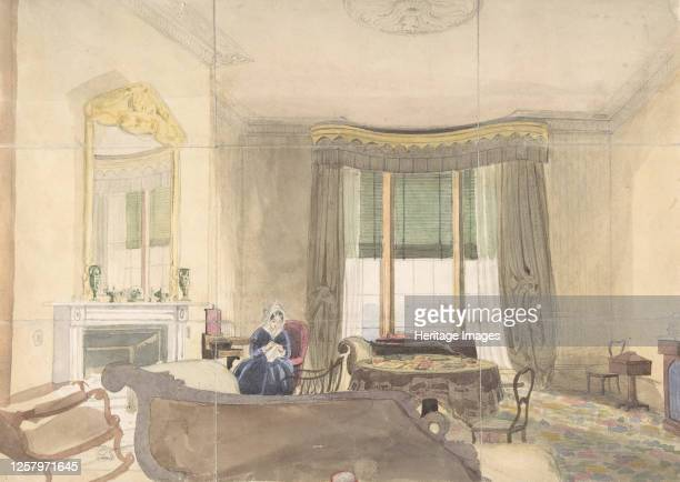 Drawing Room with Seated Woman 1848 Artist Anon