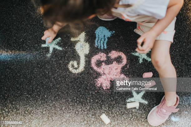 drawing sea life with chalk - sea stock pictures, royalty-free photos & images