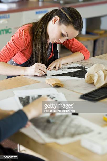 Drawing with charcoal in art class