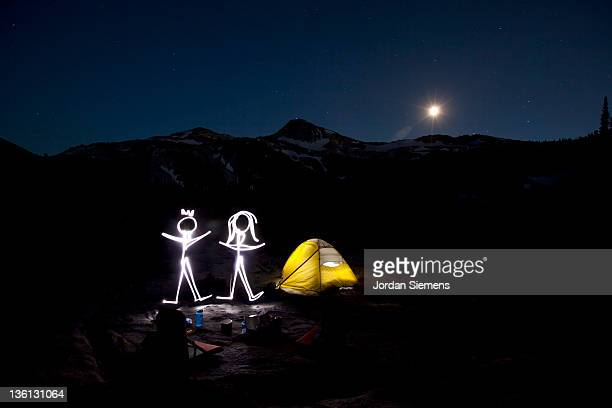 Drawing with light in the mountains.