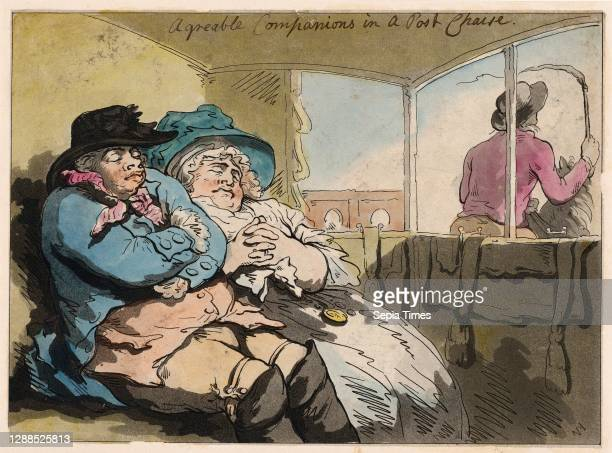 Drawings and Prints, A Comfortable Nap in a Post Chaise, Artist, Thomas Rowlandson, British, London 1757–1827, December 29, 1788.