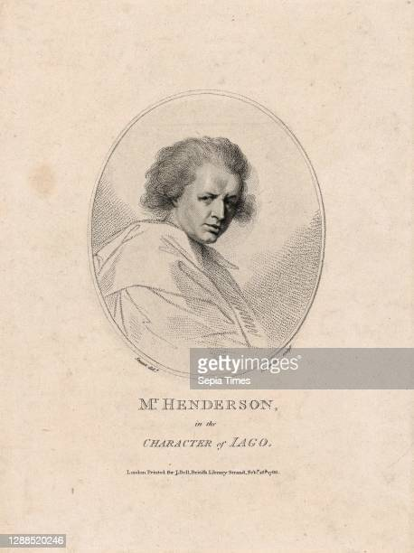 Drawings and Prints, Print, John Henderson, in the Character of Iago , Sitter, Publisher, Subject, Artist, Engraver, After, John Henderson, John...