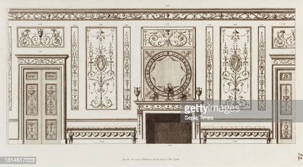 Drawings and Prints, Print ; ornament and architecture, Interior design of wall with door, fireplace, panels and benches , Engraver, Artist and...