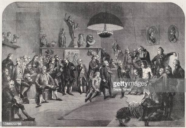 Drawings and Prints, Print, Portraits des premiers fondateurs de l'Académie Anglaise des Beaux-Arts , Artist, Engraver, After, Johan Joseph Zoffany,...