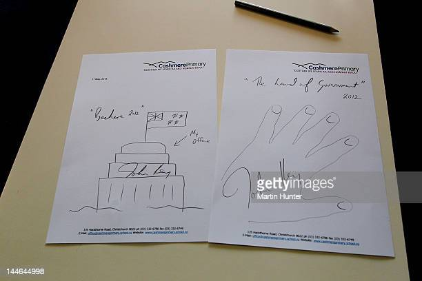 Drawings by New Zealand Prime Minister John Key during a visit to Cashmere Primary School on May 17 2012 in Christchurch New Zealand Prime Minister...